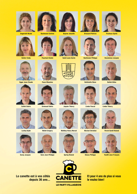 Candidats Canette aux élections du 5 Juin 2016